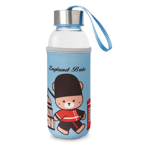 【英國貝爾】熊隨身玻璃瓶-淺藍(300ml)*1