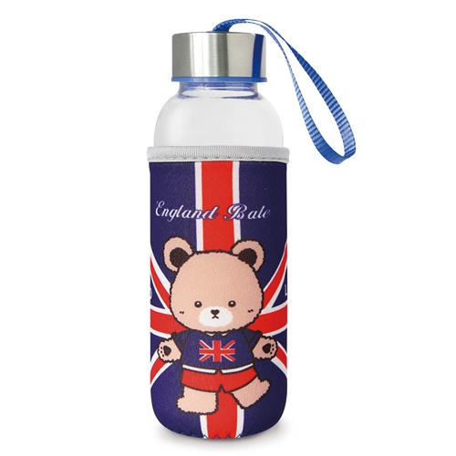 【英國貝爾】熊隨身玻璃瓶-深藍(300ml)*1