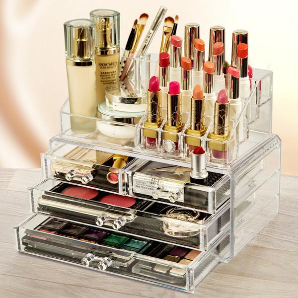 压克力化妆品收纳盒 彩妆 化妆盒 收纳 透明 收纳架 化妆柜 彩妆盒  口红架  -宝来小舖-现货贩售