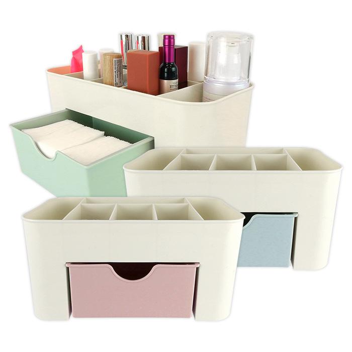 北欧风情桌面带小抽屉多功能化妆盒/首饰盒 红/绿/蓝【ROLI494C】