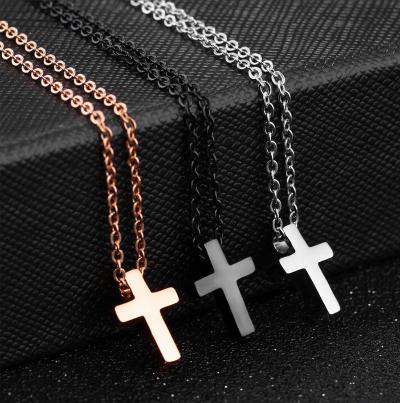 迷你十字架 钢钛项鍊
