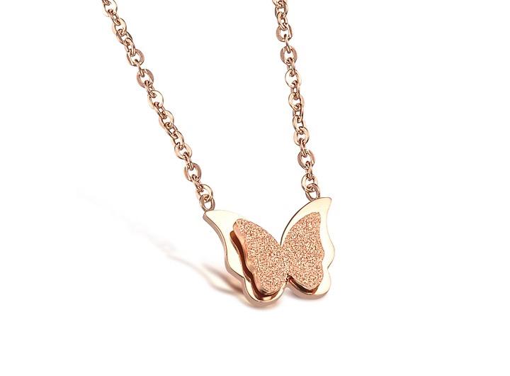 蝴蝶之鍊 磨沙双层钢钛项鍊饰品