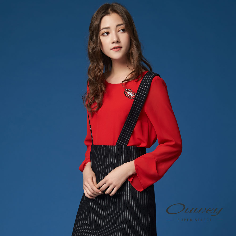 OUWEY欧薇 时尚红唇别饰雪纺上衣(红)G57163