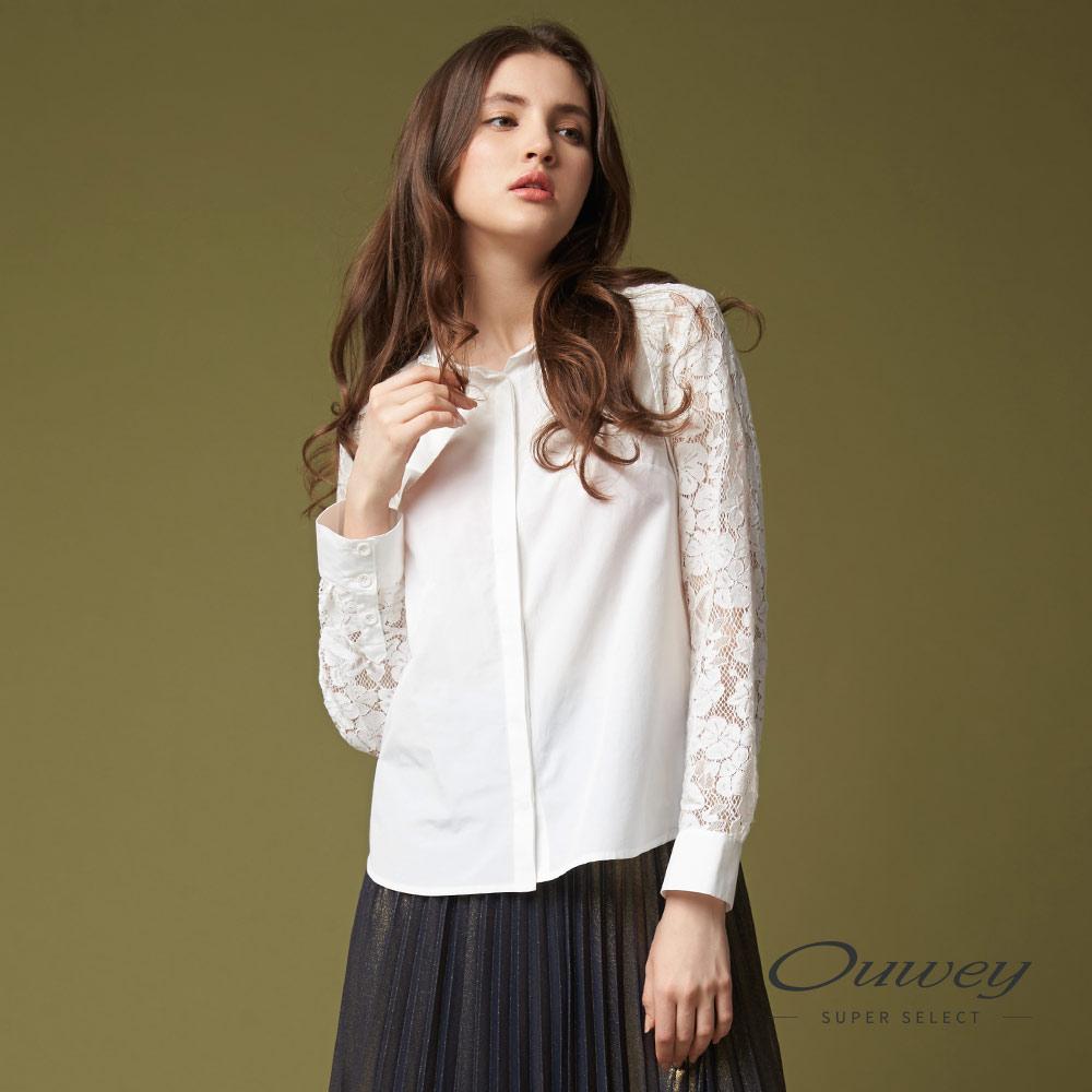 OUWEY欧薇 甜美率性缝饰蕾丝上衣(白)G57155