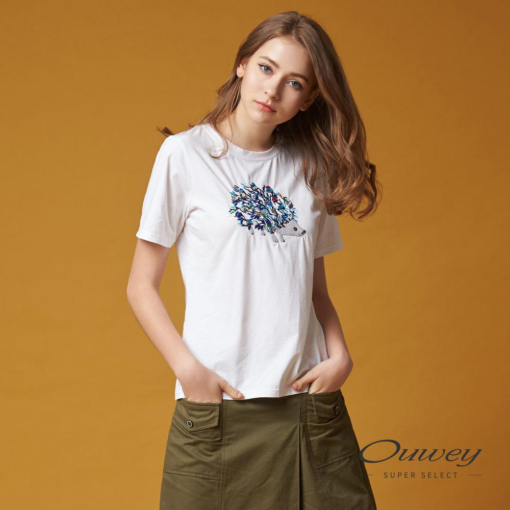 OUWEY欧薇 个性刺猬图腾棉质上衣(白)G66189