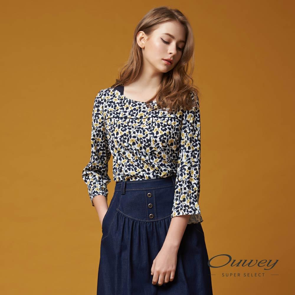OUWEY欧薇 甜美优雅碎花上衣(蓝)G57164
