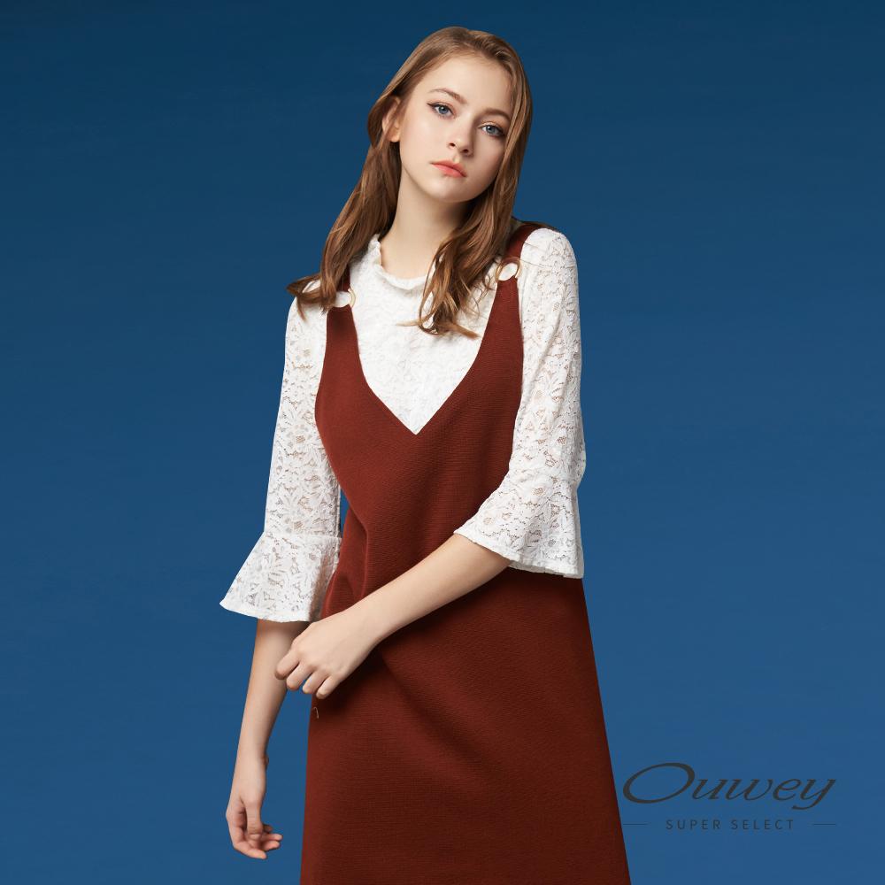 OUWEY欧薇 甜美优雅花卉蕾丝上衣(白)G57156