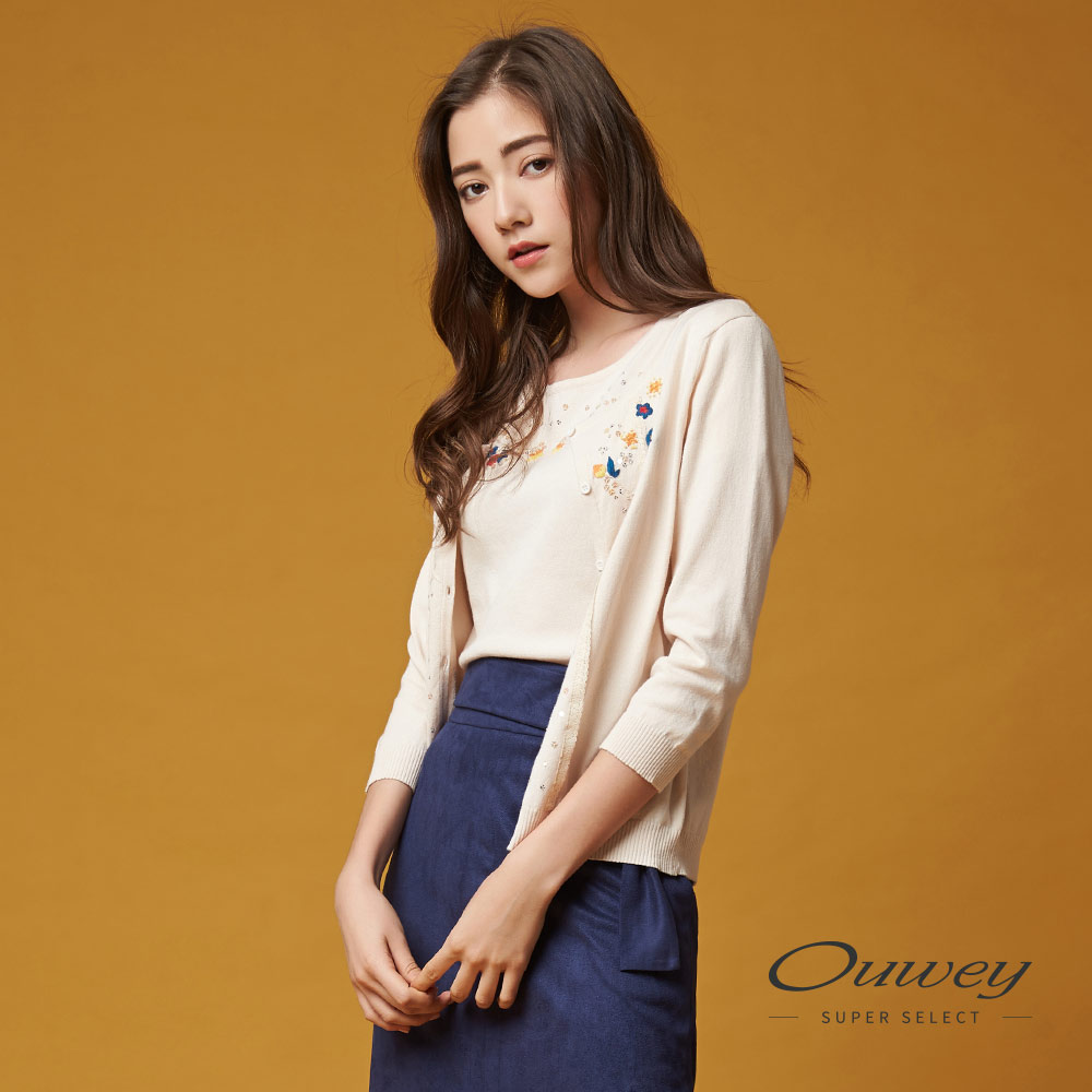 OUWEY欧薇 甜美手缝花草针织外套(米)G68554