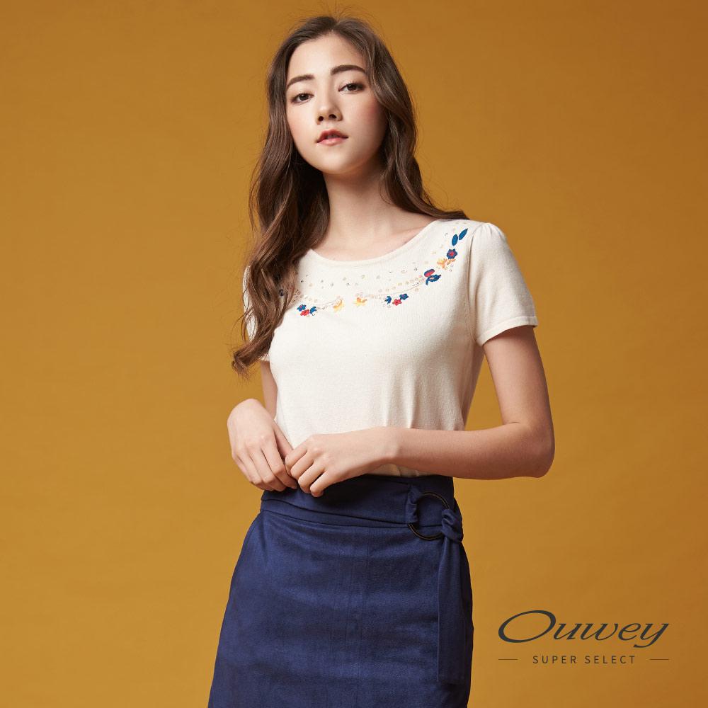 OUWEY欧薇 甜美手缝花草针织上衣(米)G68553