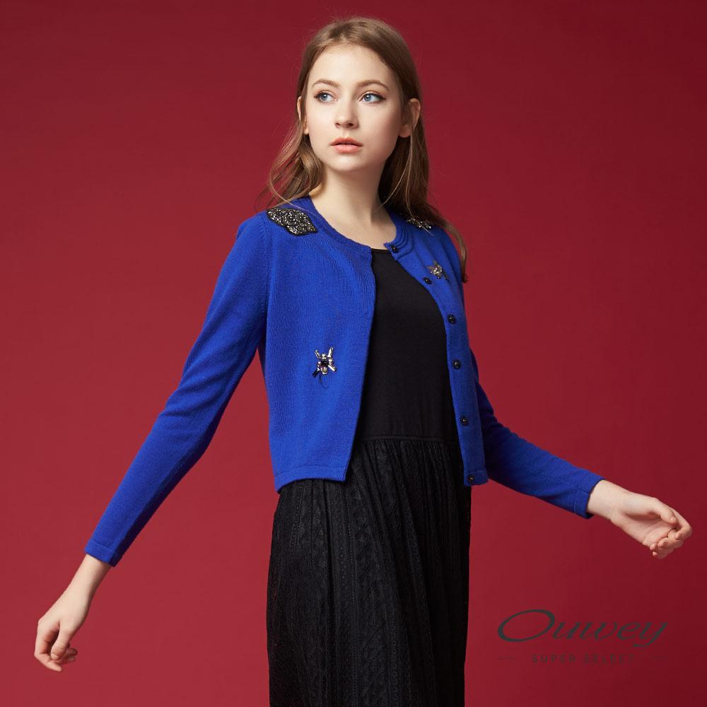 OUWEY欧薇 优雅针织短版外套(蓝)G68556