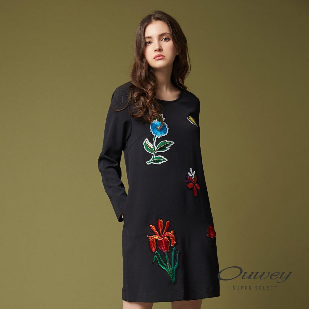 OUWEY欧薇 时尚花卉贴布刺绣洋装(黑)G93761