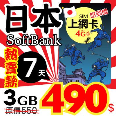 【玩家包膜】日本 7天 4G高速上网卡 前3GB高速 无限吃到饱 连接SOFTBANK基地台 随插即用