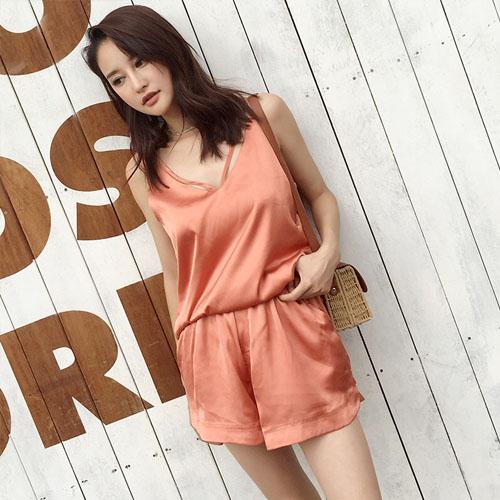 HIFUN韩版绸缎两件式套装