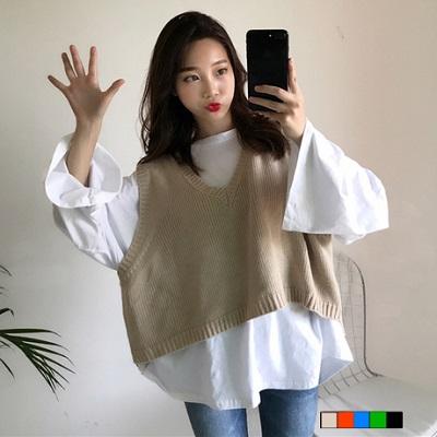 韩国拼色条纹针织衫背心