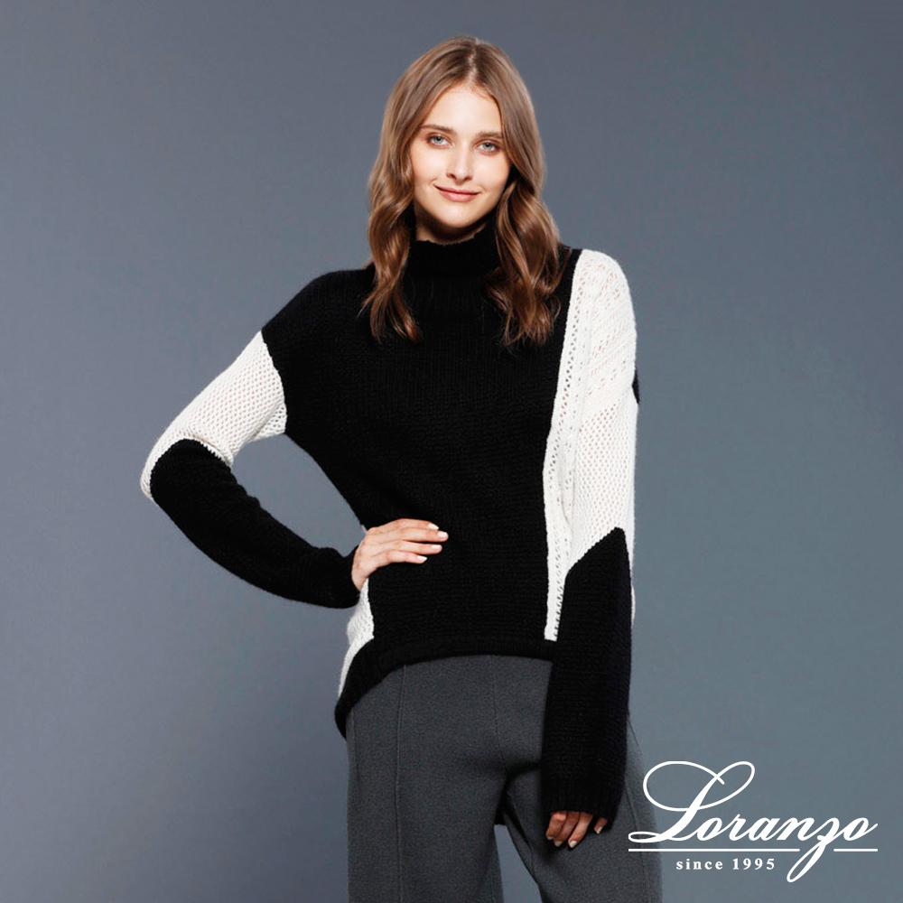[ LORANZO ] 2017秋冬新品 拼色中高领针织衫 QAKD407