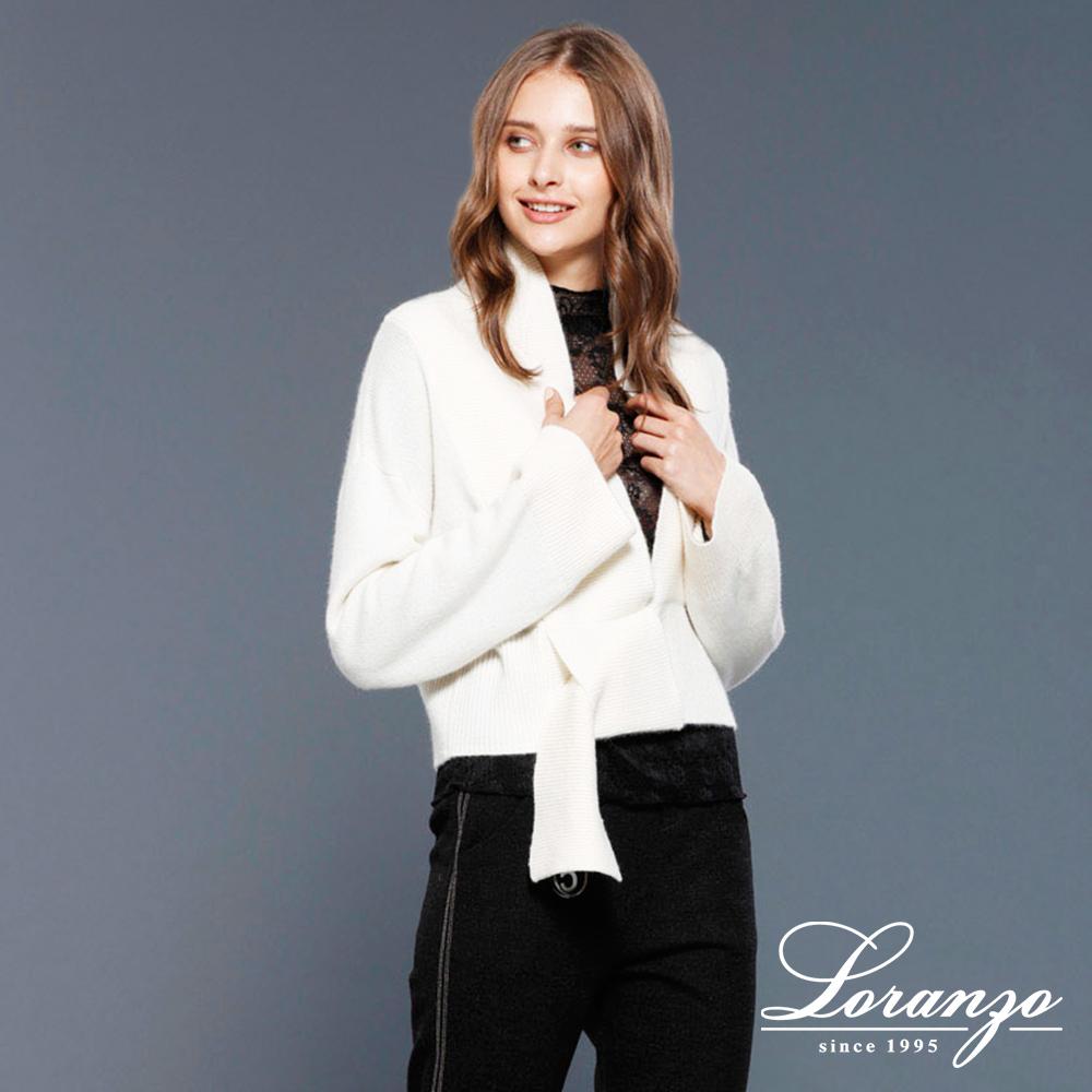 [ LORANZO ] 2017秋冬新品 翻领短版螺纹针织衫 QAKD509