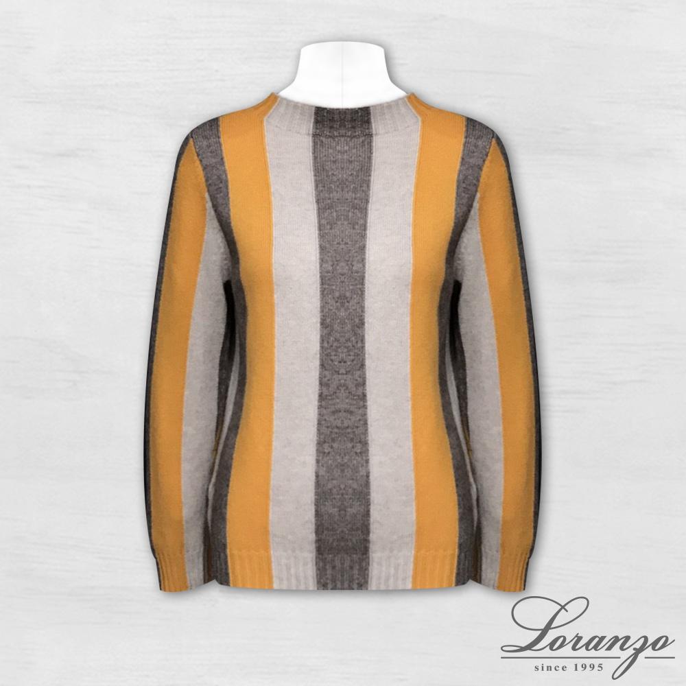 [ LORANZO ] 2017秋冬新品 宽条纹拼色针织衫 QAKD410