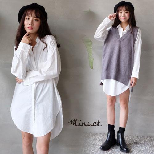 【现货】大口袋长版白衬衫-【CU9985】Minuet