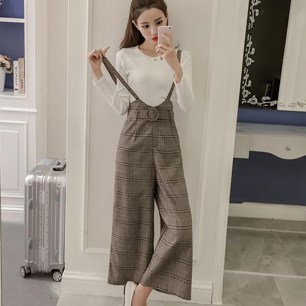 秋冬新款针织T恤格子吊带裤两件套气质裤装【预】 2PC1065