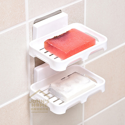 约翰家庭百货》【BD076】无痕贴双层沥水肥皂架 浴室墙面肥皂盒 肥皂盘 免钉免钻反复使用