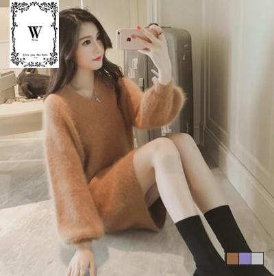 韩国貂绒格调气质连身裙