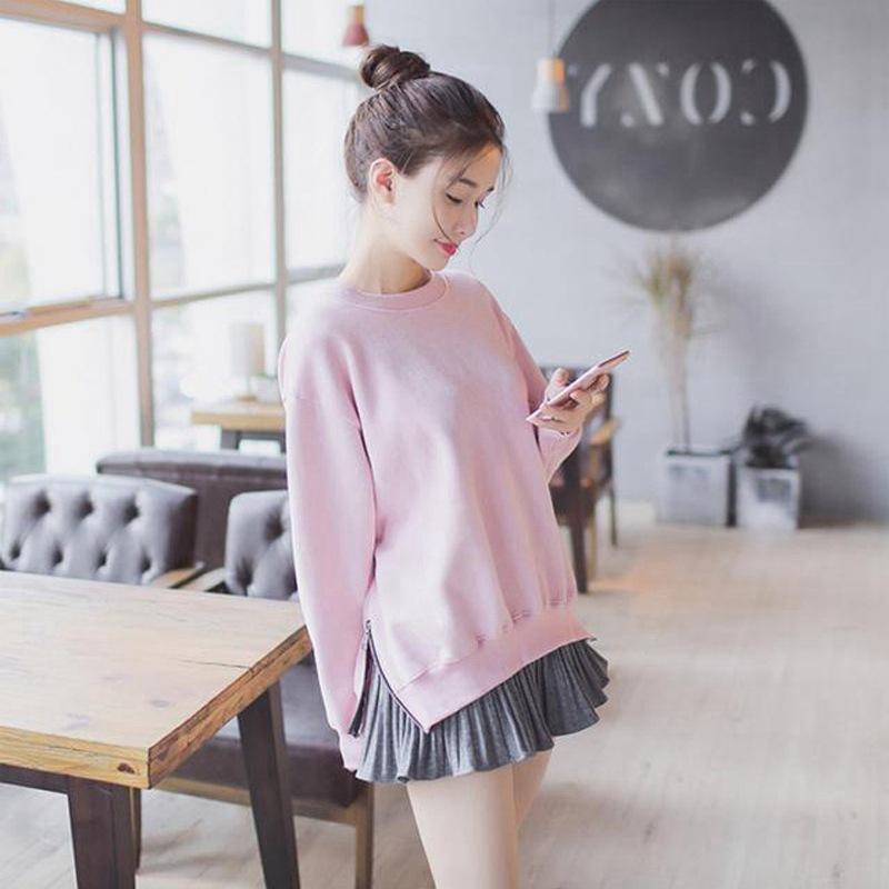 PS Mall 圆领粉色大学T恤+百褶灰色短裙 两件套【WT1877】