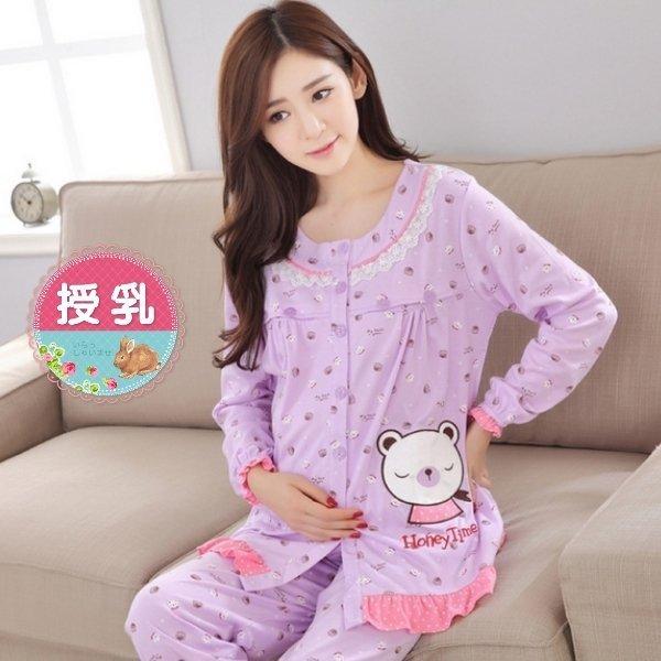 *漂亮小妈咪*HONEY TIME 幸福熊熊 长袖 哺乳睡衣 孕妇睡衣 哺乳装 月子服 BFS2000