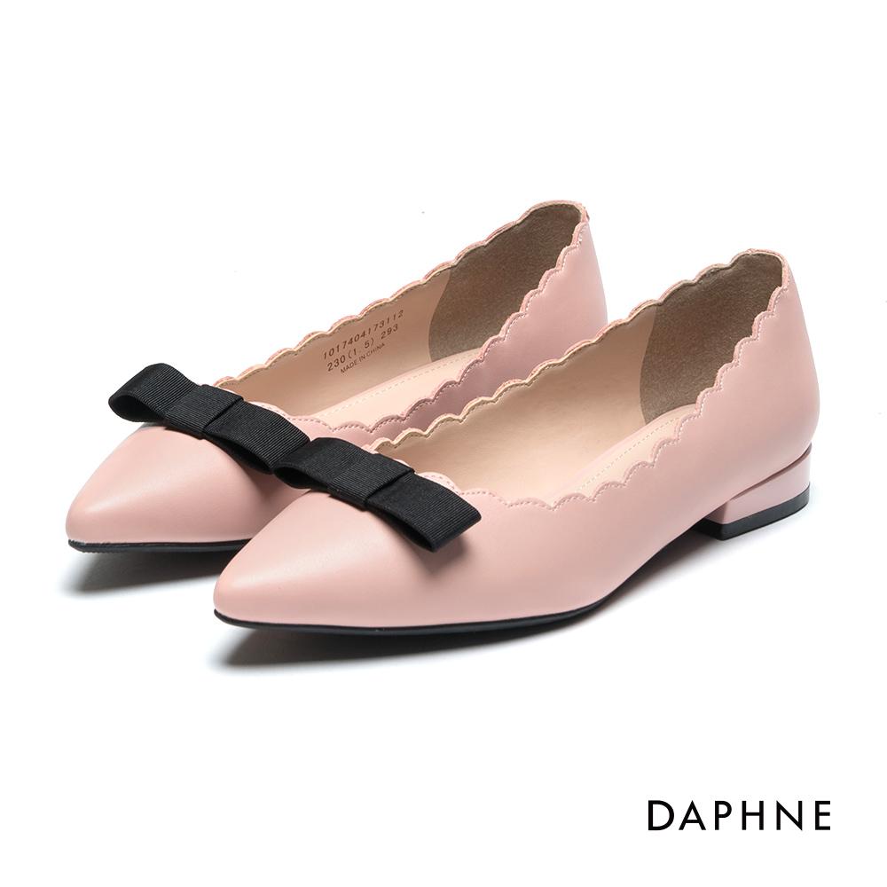 【SALE】缎带花边尖头低跟鞋-粉红