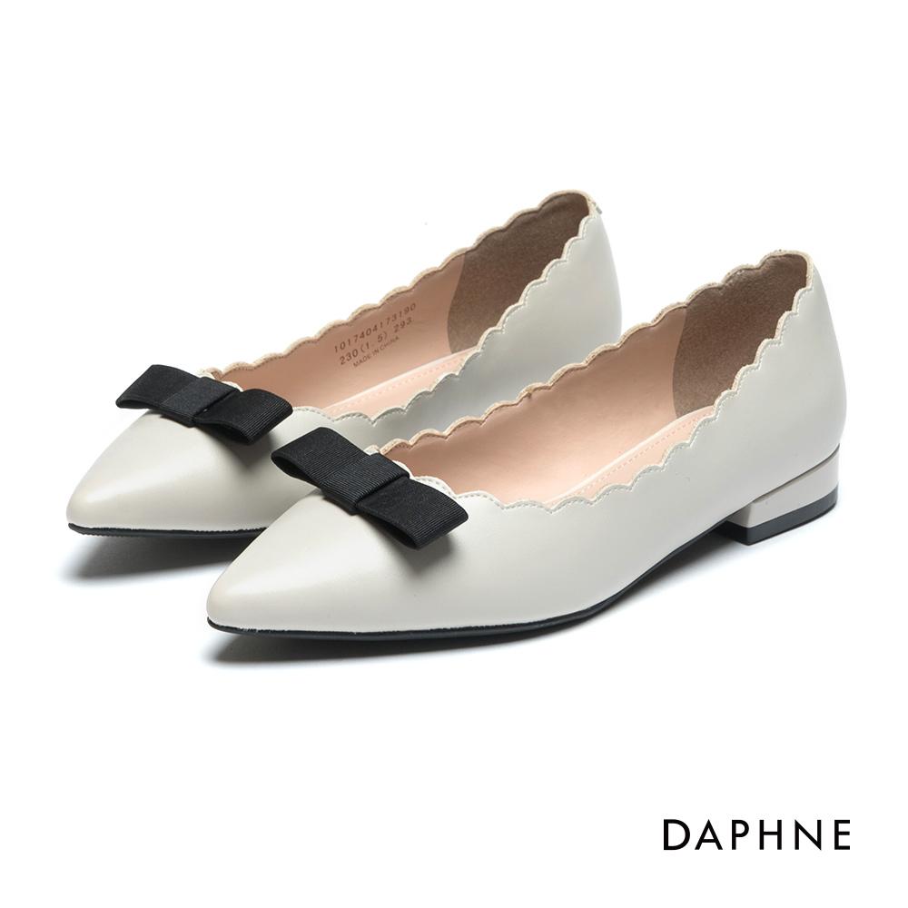 【SALE】缎带花边尖头低跟鞋-米白