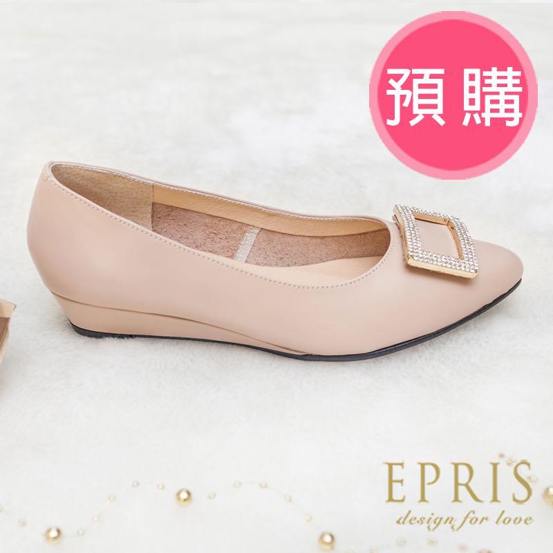 预购 MIT尖头鞋低跟新娘婚鞋推荐 暖心女神 水钻方釦牛皮坡跟鞋 21-26EPRIS艾佩丝-透肤裸