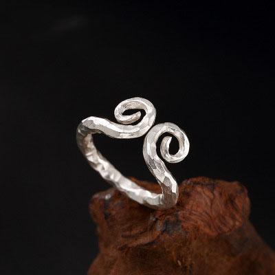 立体雕刻紧箍圈纯银戒指   RSL077HUI