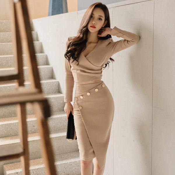 PS Mall 气质V领上衣包臀裙连身裙两件套装 洋装【WT2011】