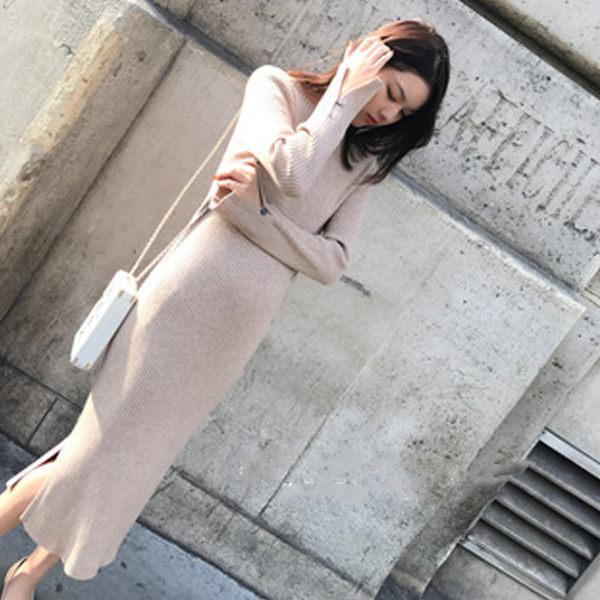 PS Mall 开叉针织连身裙洋装【WT2017】