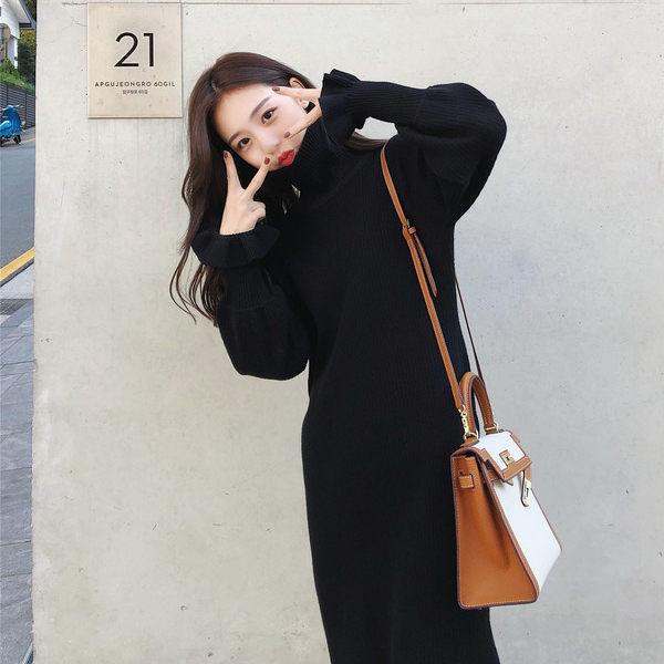 PS Mall 韩版修身内搭厚针织女连身裙 洋装【WT2018】
