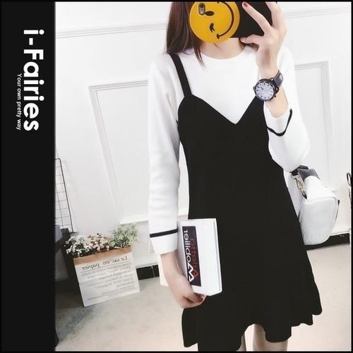 长袖洋装 假两件式针织连身裙★ifairies【62710】