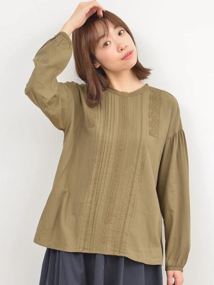 蕾丝花边胸前压折衬衫上衣(F6174A40108) - Samansa Mos2