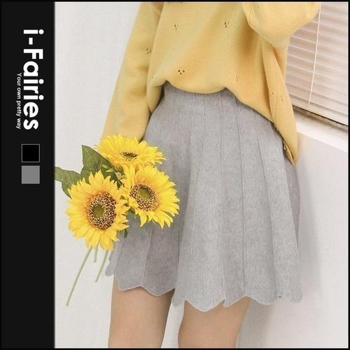 高腰针织A字裙半身短裙★ifairies【61668】