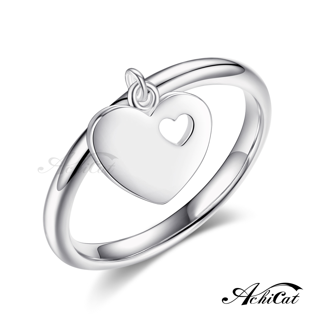 AchiCat 925纯银戒指 俏皮甜心 爱心 送刻字 AS7127