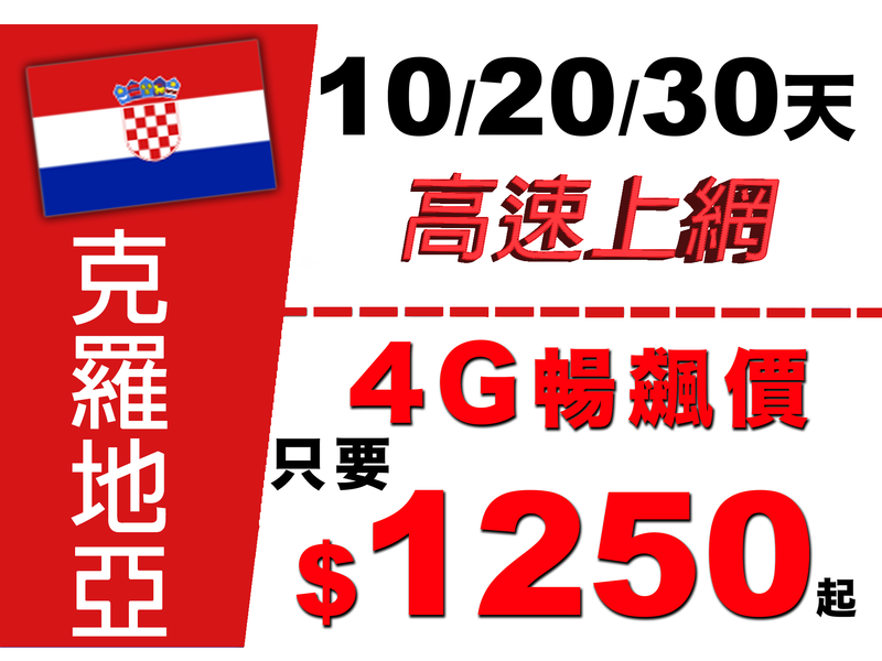【玩家包膜】克罗地亚 10天$1150/20天$1250/30天$1350上网卡 9GB高流量 高网速 随插即用