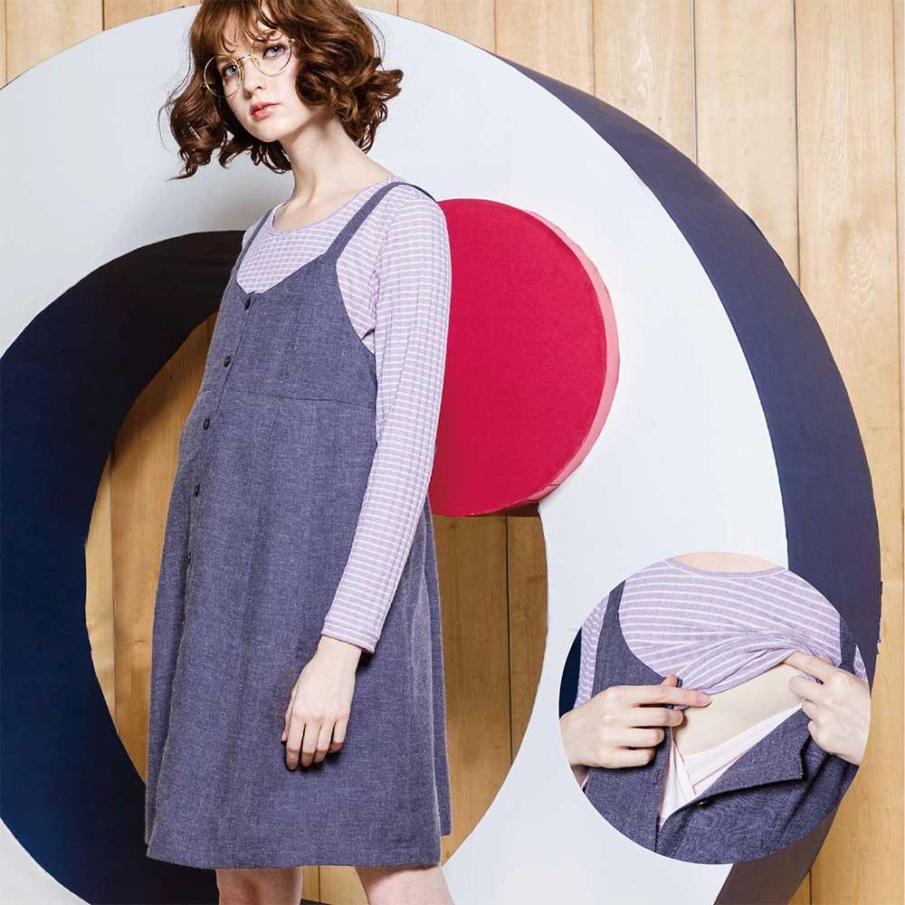 《孕期+哺乳》连身肩带式羊毛背心洋装