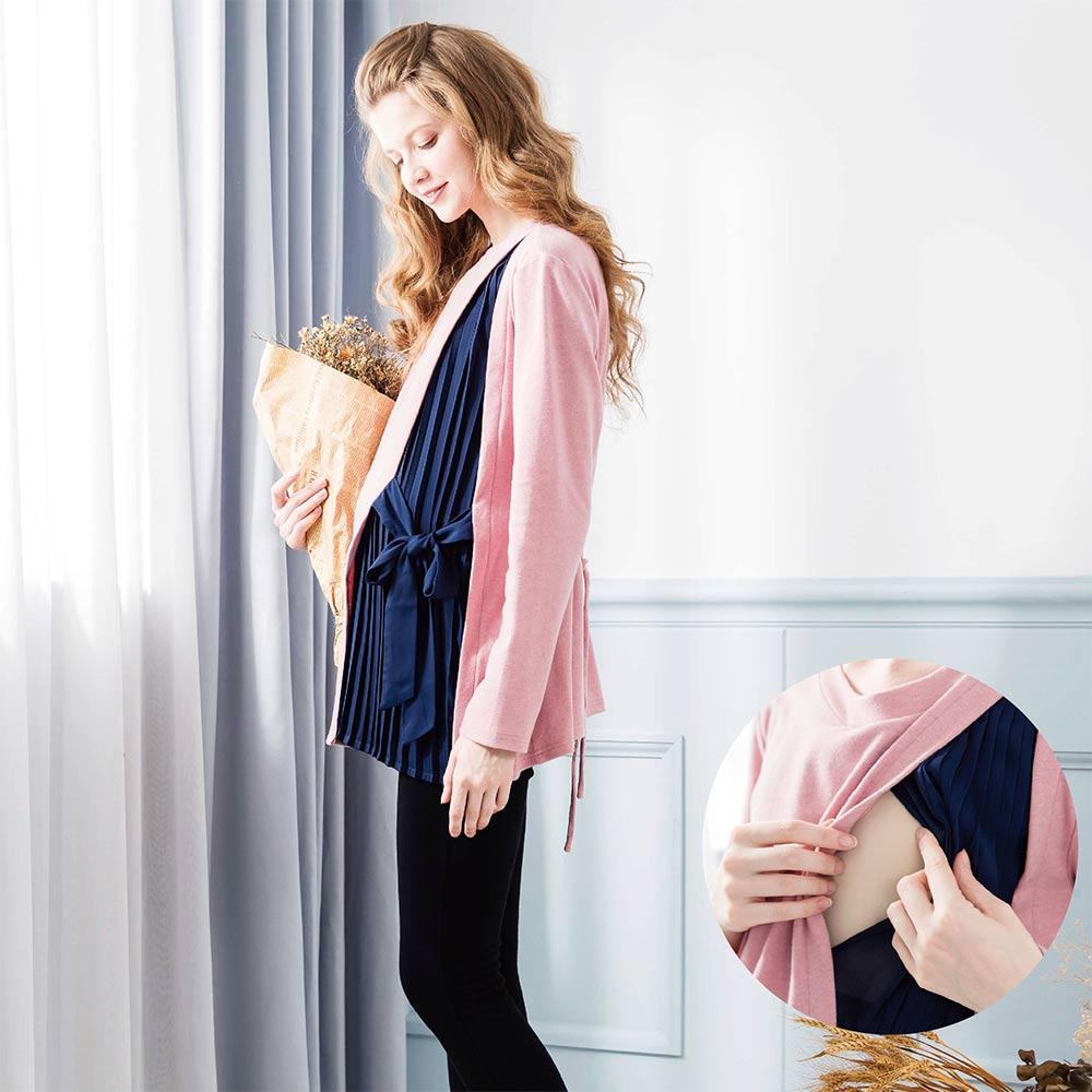 《孕期+哺乳》OL雅致舒服手感刷毛面上衣