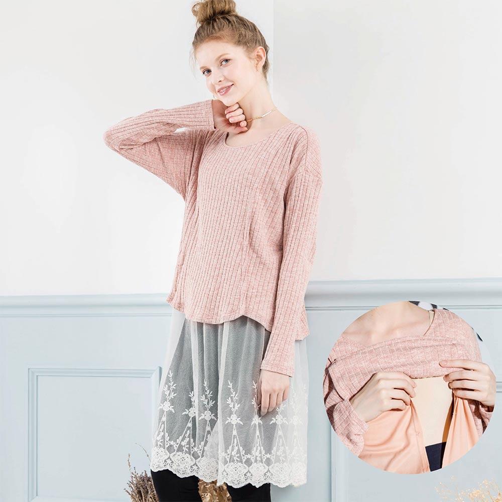 《孕期+哺乳》假两件休闲甜美网纱上衣