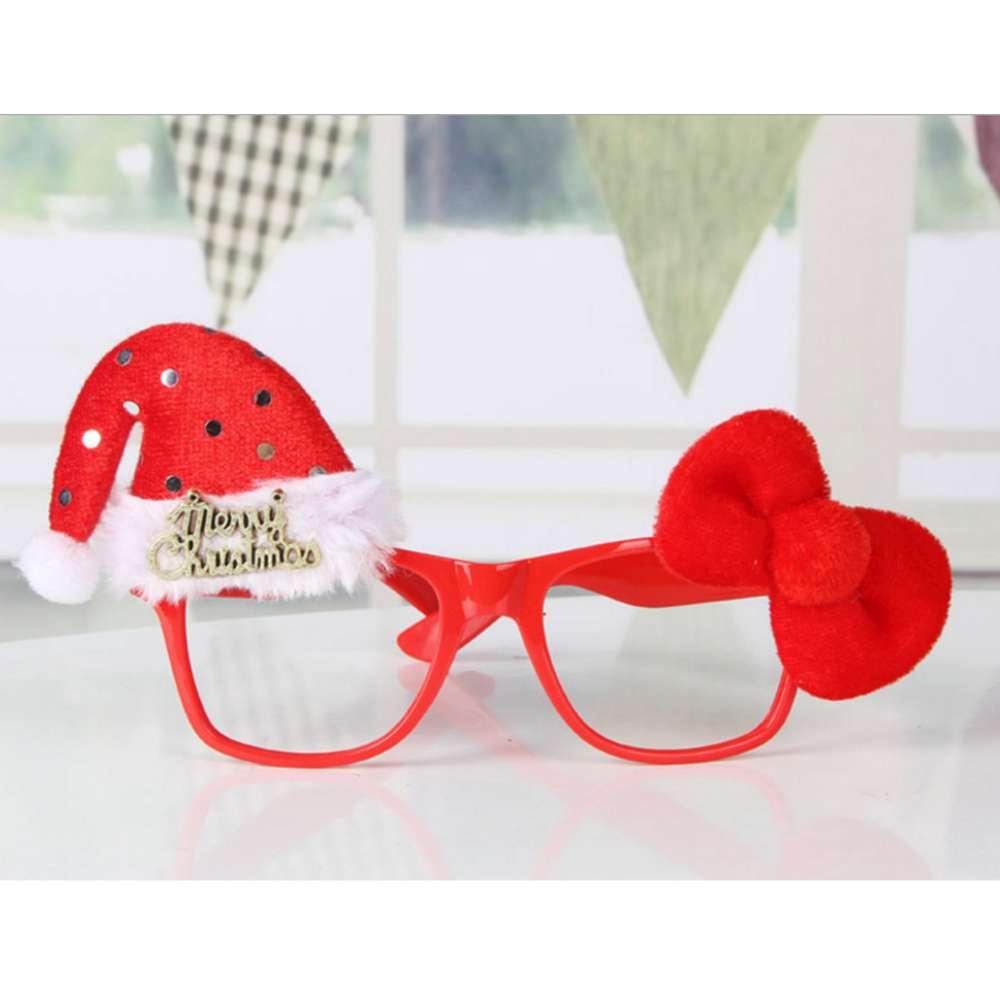 【摩达客】圣诞派对造型眼镜-红蝴蝶结圣诞帽