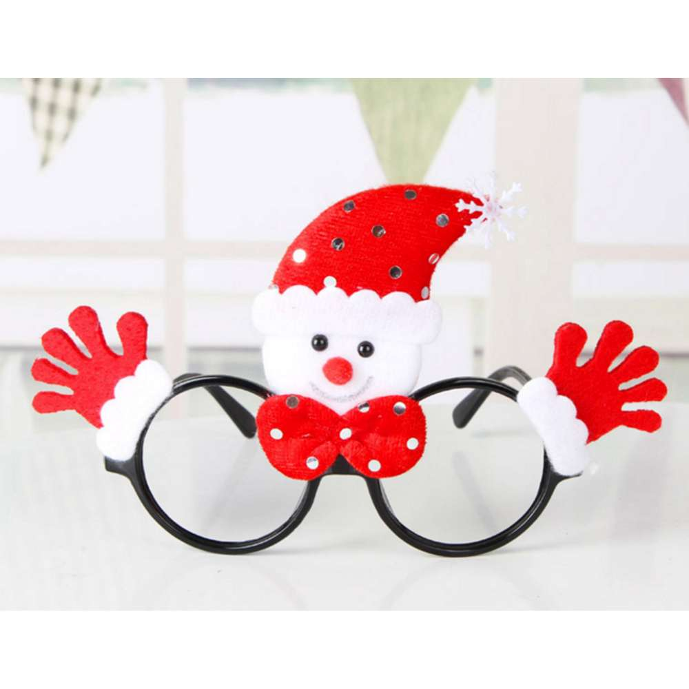 【摩达客】圣诞派对造型眼镜-红雪人双手