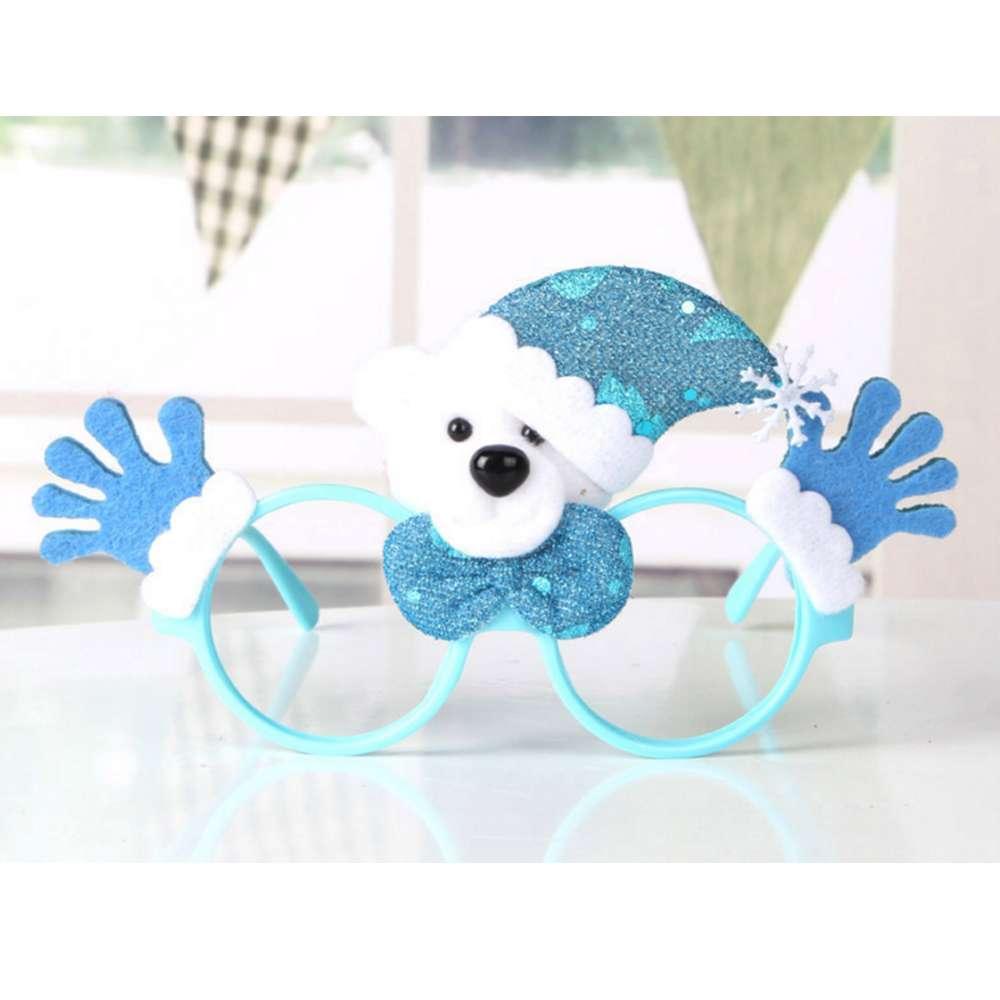 【摩达客】圣诞派对造型眼镜-蓝雪人双手
