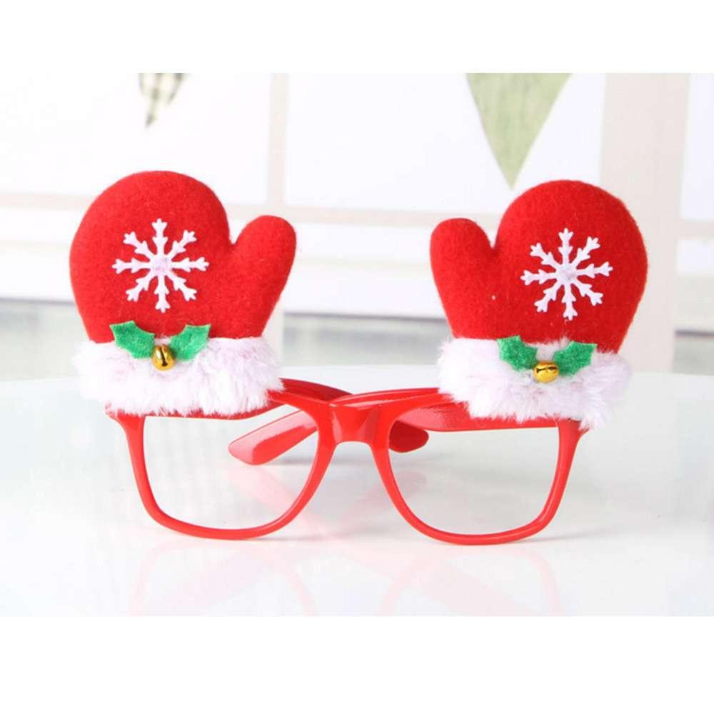 【摩达客】圣诞派对造型眼镜-雪花红手套