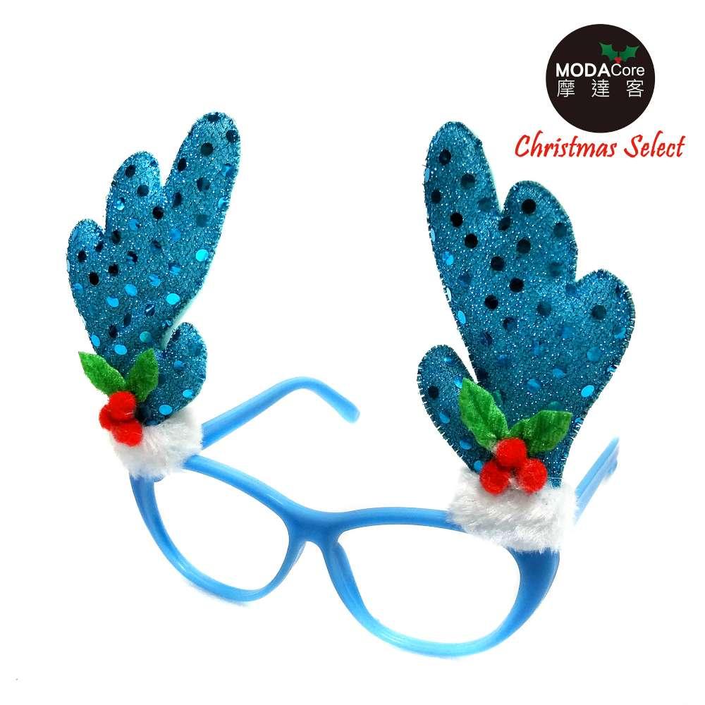 【摩达客】圣诞派对造型眼镜-冰雪蓝鹿角