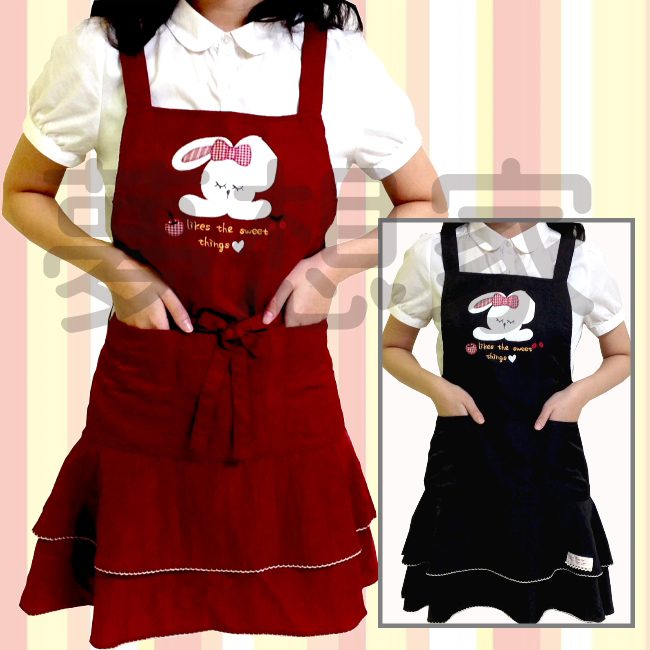 日式和风系列 丝光绵 蛋糕 围裙 苹果小兔 《 双口袋设计 》 ★超有质感喔★ 梦想家精品生活家饰