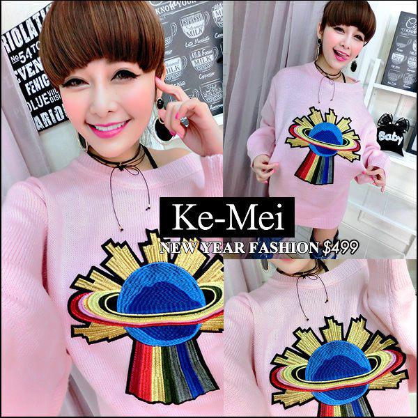 克妹Ke-Mei【ZT42519】欧洲站 彩色星球电绣图腾水貂毛毛衣洋装
