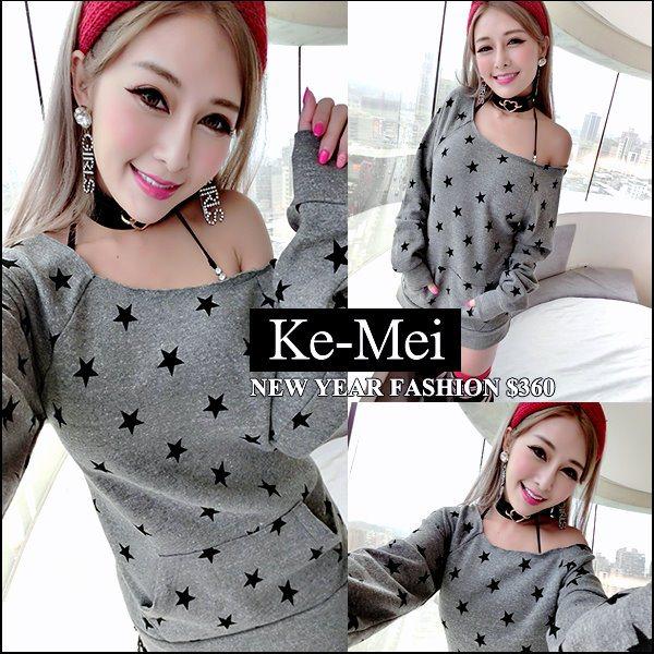 克妹Ke-Mei【ZT42518】欧美外贸单 五角星星T字口袋厚刷毛露肩T洋装